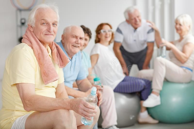 Tired elderly people royalty free stock images