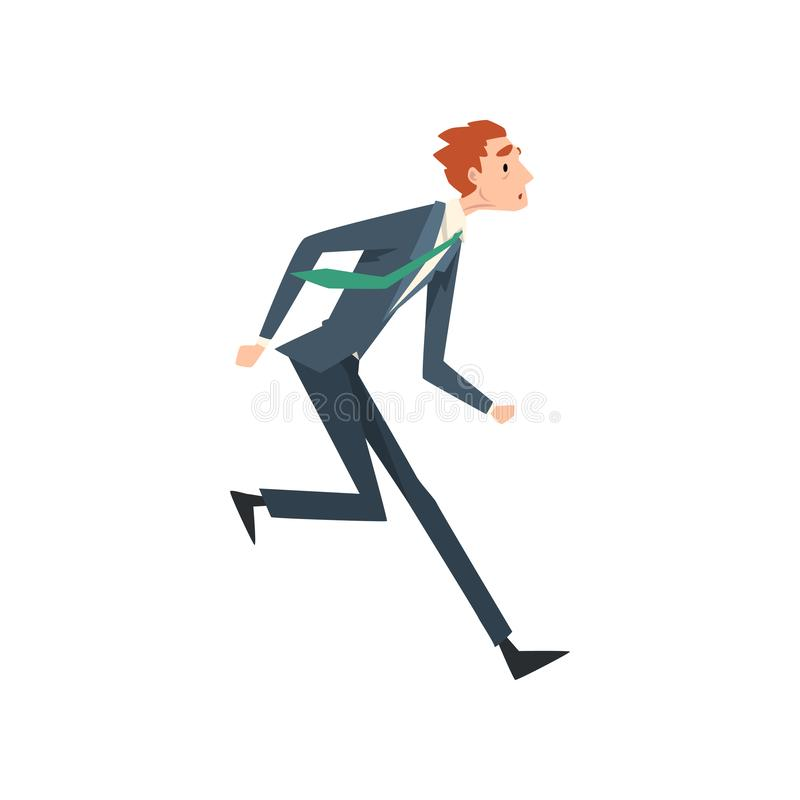 Tired Exhausted Businessman Running, Business Competition Concept Vector Illustration stock illustration
