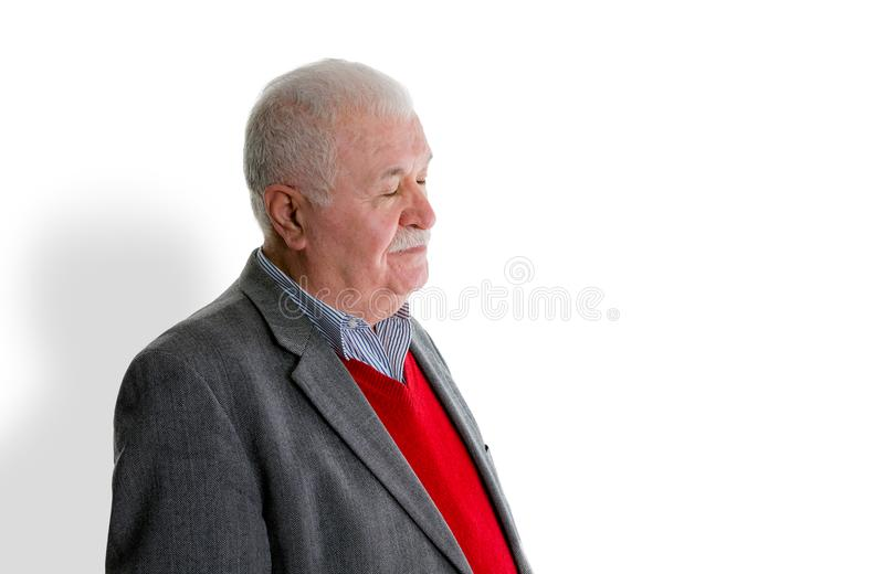 Tired exhausted senior man over a white background stock images