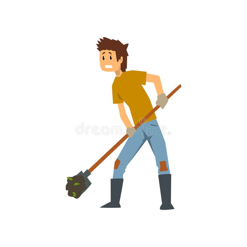 Tired farmer digging the earth with a shovel, hard work, farm worker with gardening tool vector Illustration on a white royalty free illustration