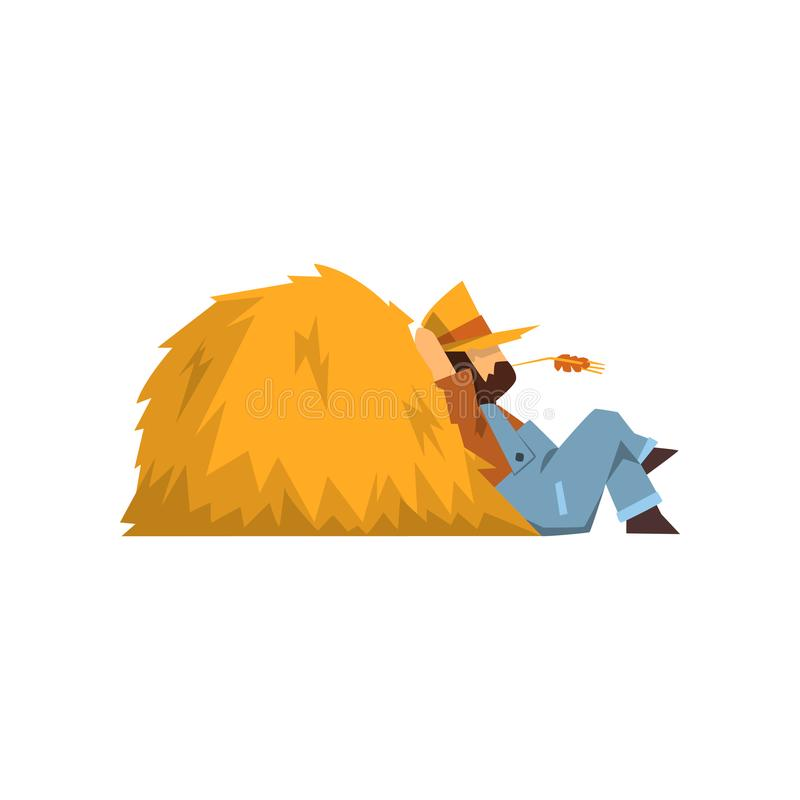 Tired farmer resting sitting by the haystack vector Illustration on a white background. Tired farmer resting sitting by the haystack vector Illustration isolated stock illustration