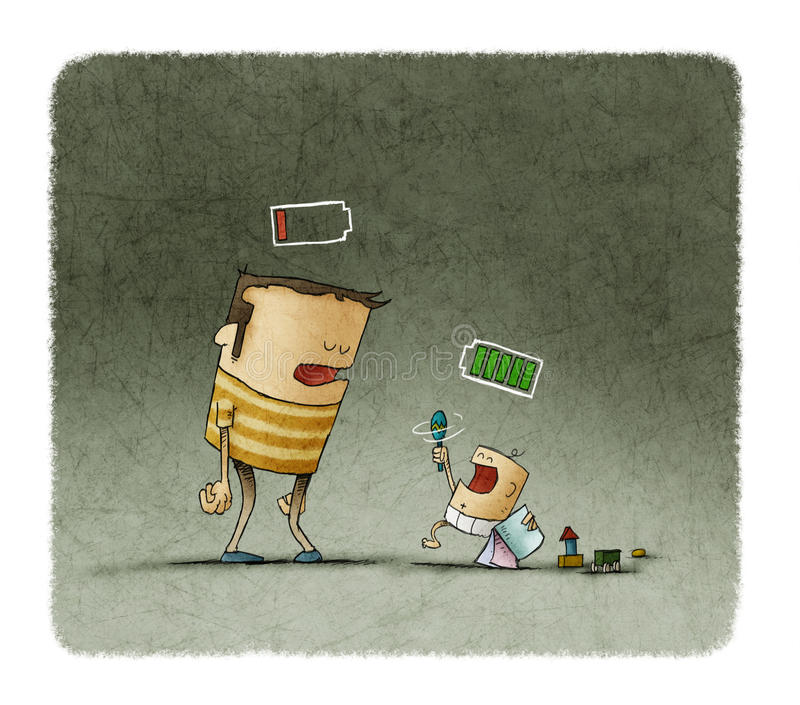 Tired father and baby playing with batteries over the head. Illustration of Tired father and baby playing with batteries over the head vector illustration