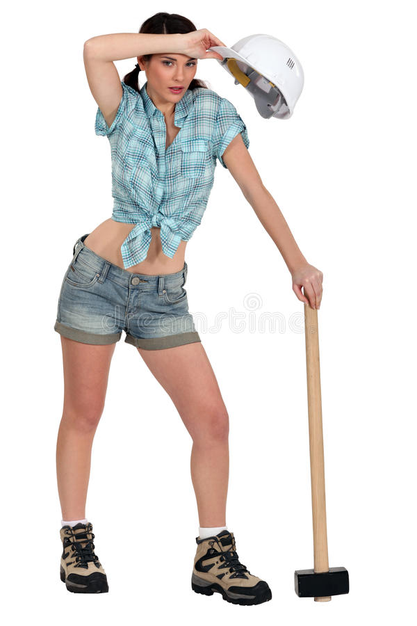 Tired female laborer royalty free stock image