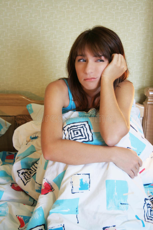 Download Tired girl stock image. Image of temperature, hair, eyes - 16441115