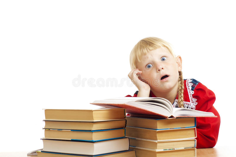 Tired Girl With Books Stock Photo