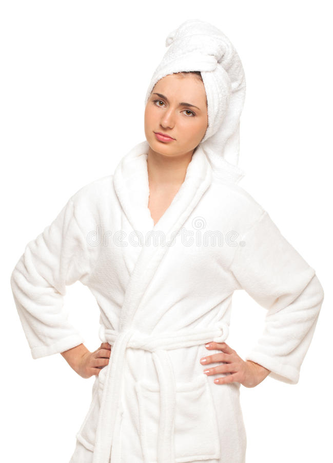 Tired housewife. Tired woman in bathrobe on isolated white background royalty free stock photos