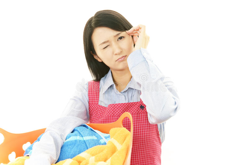 Tired housewife royalty free stock images