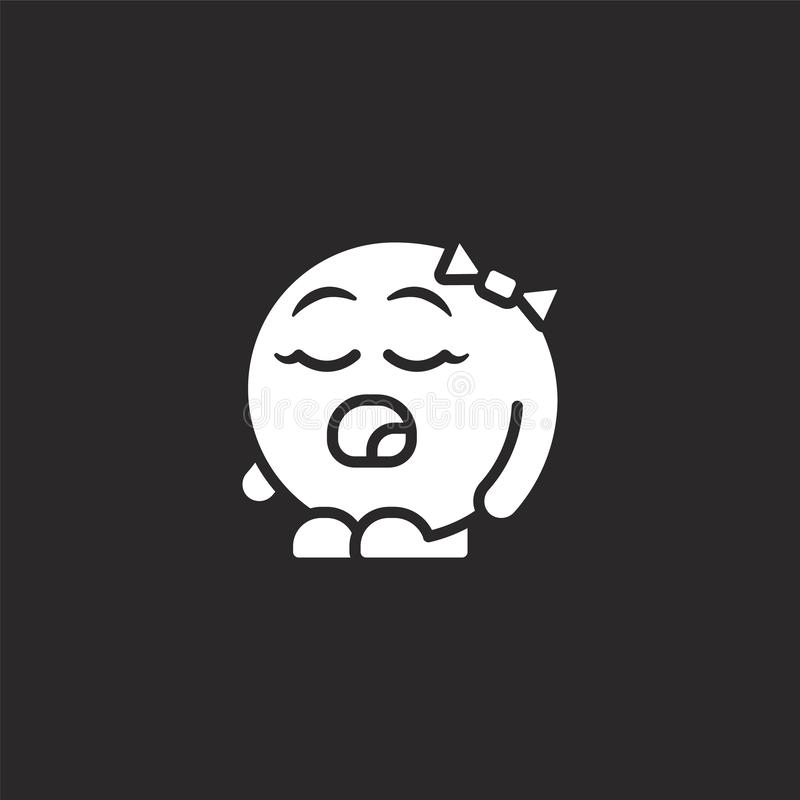 tired icon. Filled tired icon for website design and mobile, app development. tired icon from filled emoji people collection vector illustration