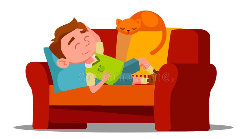Tired Little Boy Sleeping On The Couch Next To Sleeping Cat Vector. Isolated Illustration stock illustration