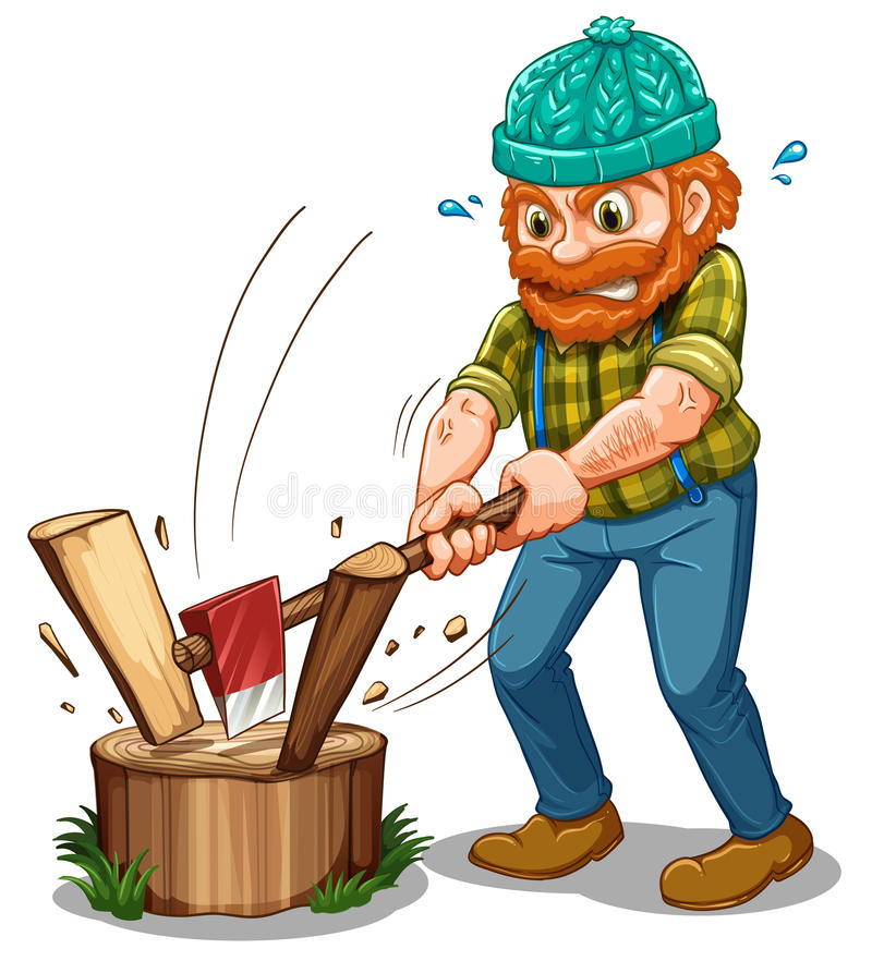 A tired lumberjack royalty free illustration