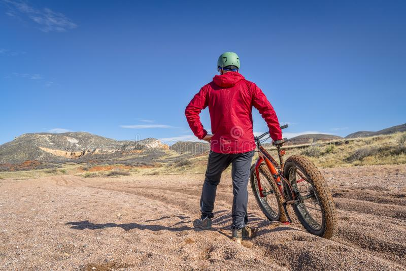 Fat bike riding in Colorado royalty free stock image