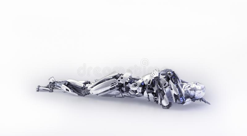 A tired male humanoid robot, android or cyborg, lying on the floor. 3D illustration. A tired male humanoid robot, android or cyborg, lying on the floor royalty free stock image