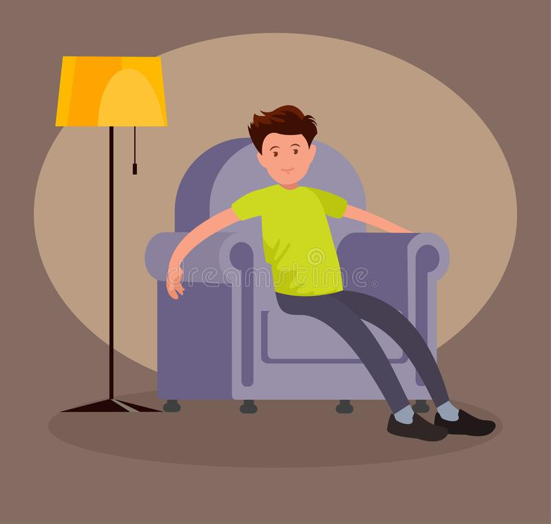 A tired man came home from work and sits in a soft chair. Vector illustration in flat style royalty free illustration