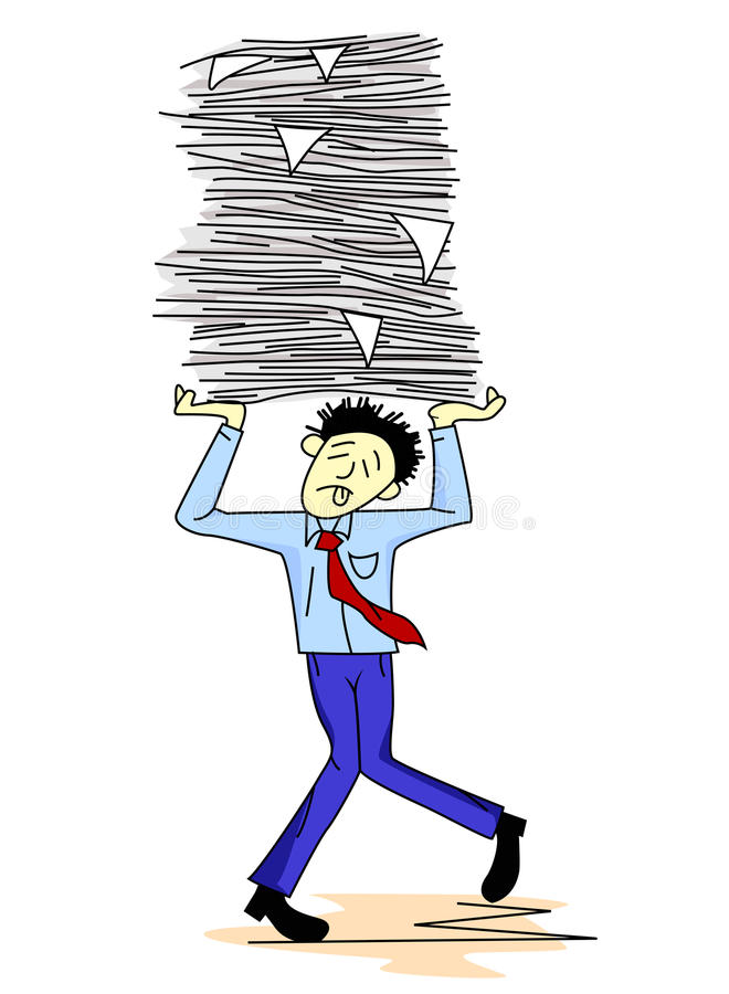 Download Tired Man Carrying Paper Work Stock Vector - Illustration: 22747461
