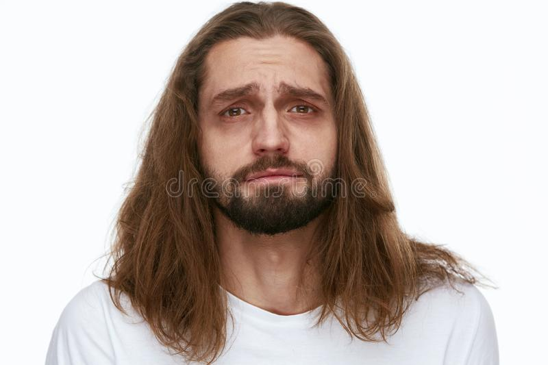 Tired Man With Exhausted Face And Dark Circles Under Eyes stock images