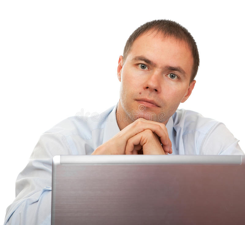 Download Tired man before laptop. stock image. Image of notebook - 16571823