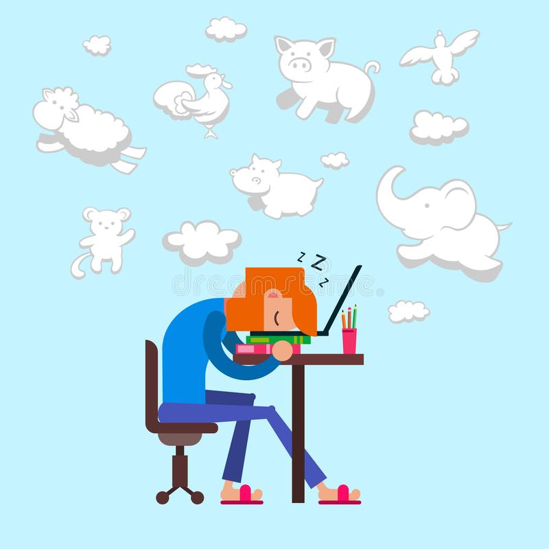 Tired man overworked sleeping sitting on chair before computer and watching dreams vector illustration. Falling sleep royalty free illustration