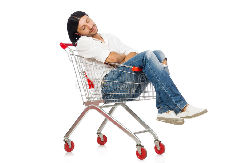 Tired man after shopping. In supermarket stock photo