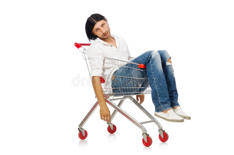Tired man after shopping. In supermarket royalty free stock images