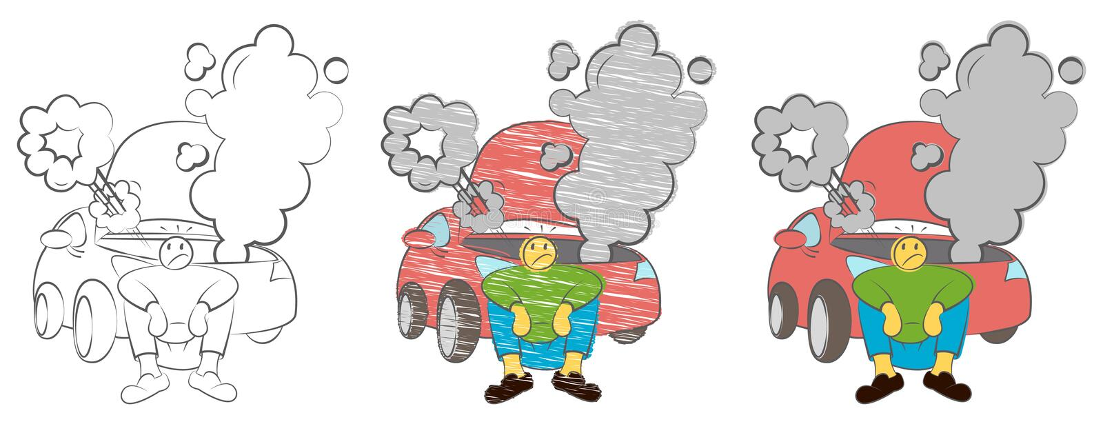 Tired man waiting a help while sitting near the broken car angry. Businessman sitting next to a damaged car. Stressed man sitting. royalty free illustration