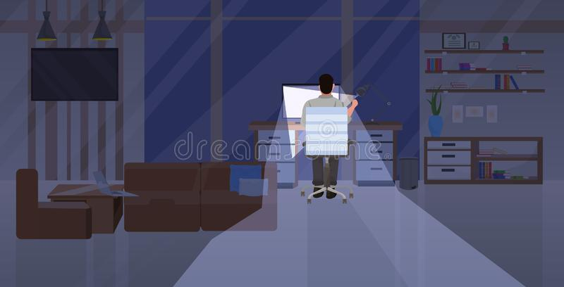 Tired man sitting at workplace rear view businessman working on computer at night deadline overwork concept modern. Office interior flat horizontal vector stock illustration