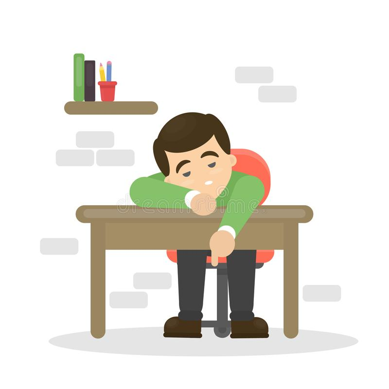 Tired man on table. Tired man on table at the office stock illustration