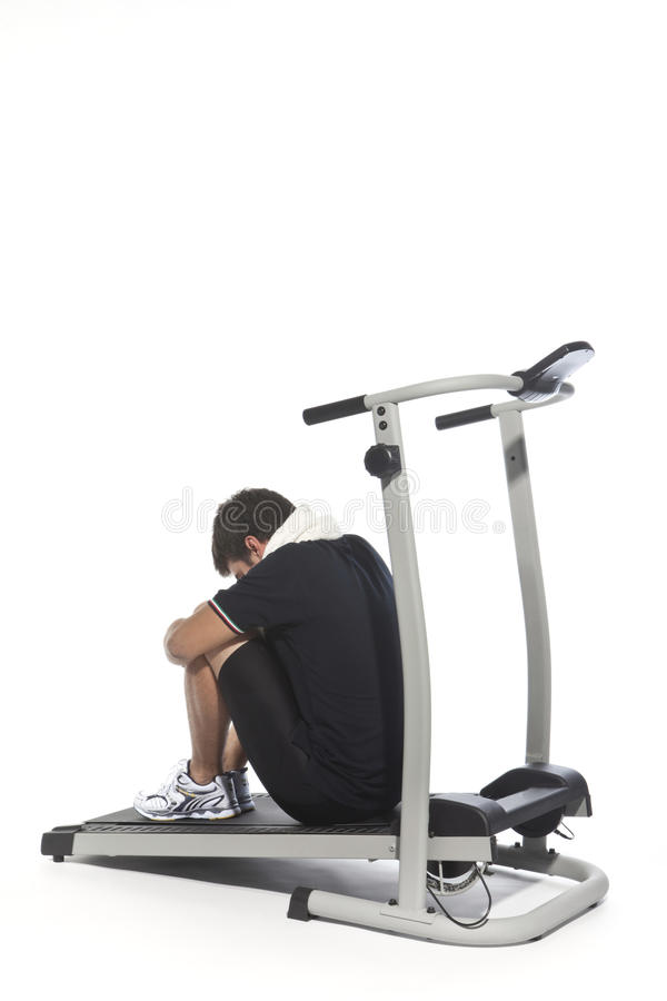 Download Tired Man On Treadmills Royalty Free Stock Photos - Image: 11013418