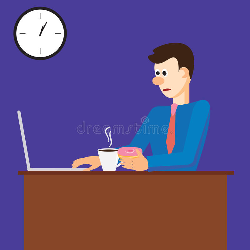 vector illustration of tired man working on computer in office, late at night with coffee and donuts vector illustration