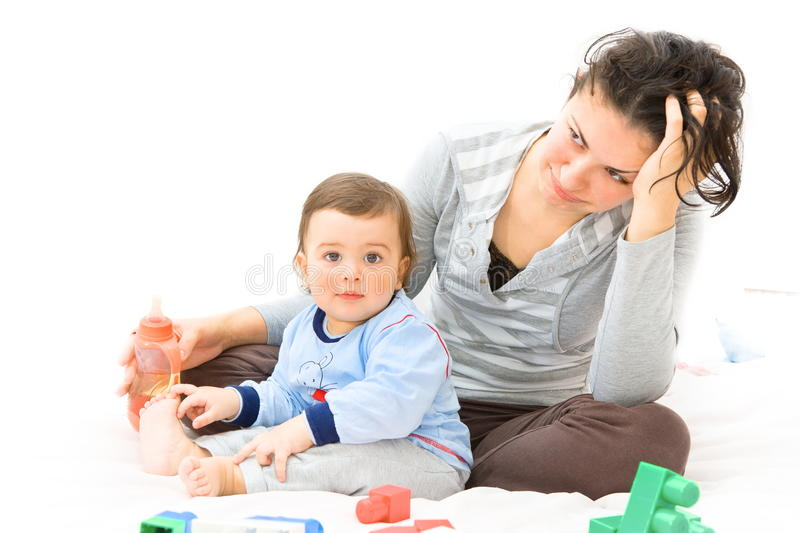 Download Tired mother and baby stock photo. Image of smiling, construction - 28203318