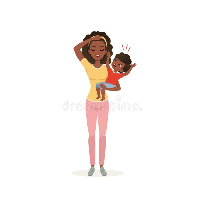 Tired mother holding a crying newborn baby, parenting stress concept, relationship between children and parents vector. Illustration isolated on a white stock illustration