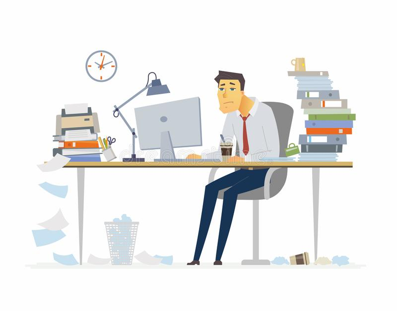 Tired office worker - modern cartoon people characters illustration vector illustration