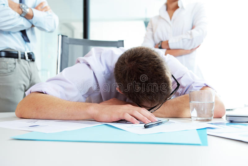 Tired office worker royalty free stock images