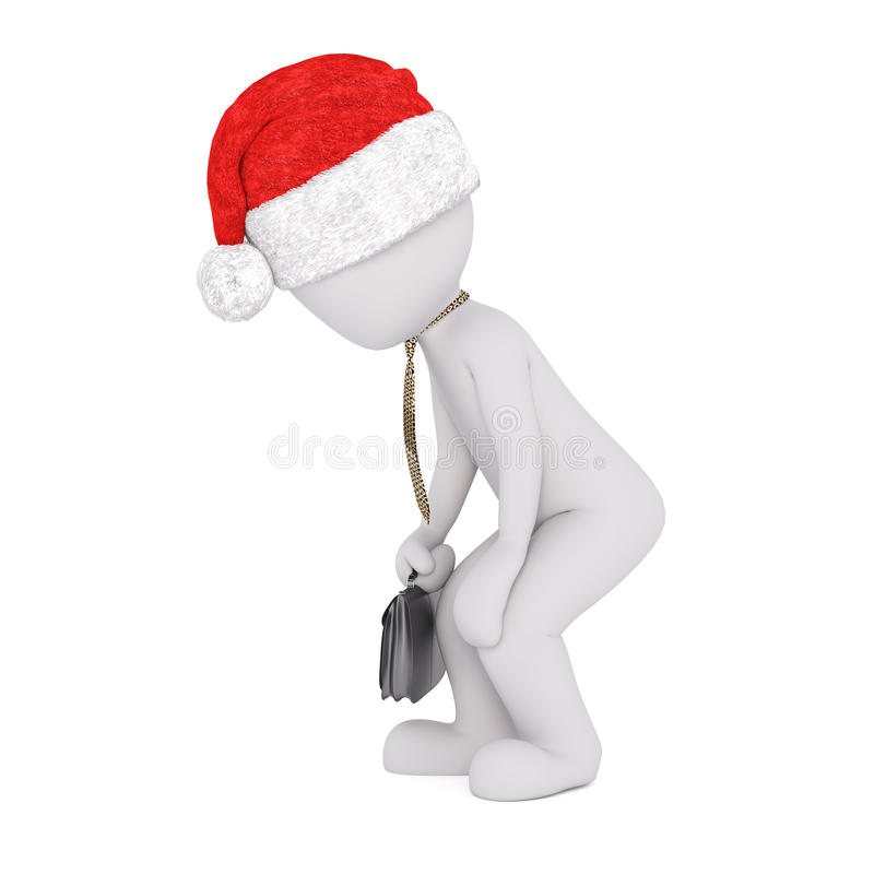 Tired or old 3d businessman walking along stooped. Tired or old 3d businessman wearing a Santa hat for Christmas walking along stooped with a tie around his neck stock illustration