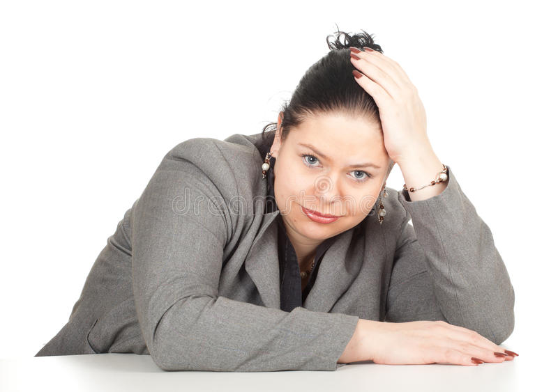 Tired overweight, fat businesswoman royalty free stock photo