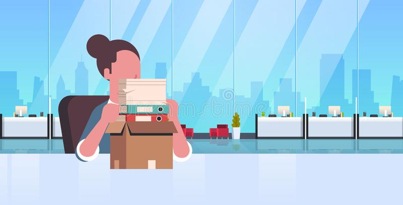 Tired overworked businesswoman sitting workplace desk with stacked paper documents business man paperwork stress concept. Modern office interior portrait flat vector illustration