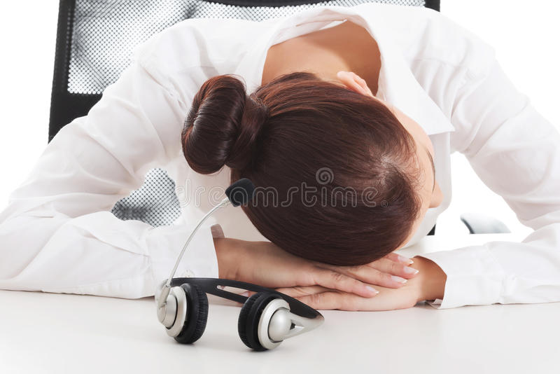 Download Tired, Sad Business Woman At Call Center. Stock Image - Image: 36196021