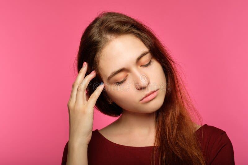 Tired sad young woman sleepy drowsy exhausted stock photography