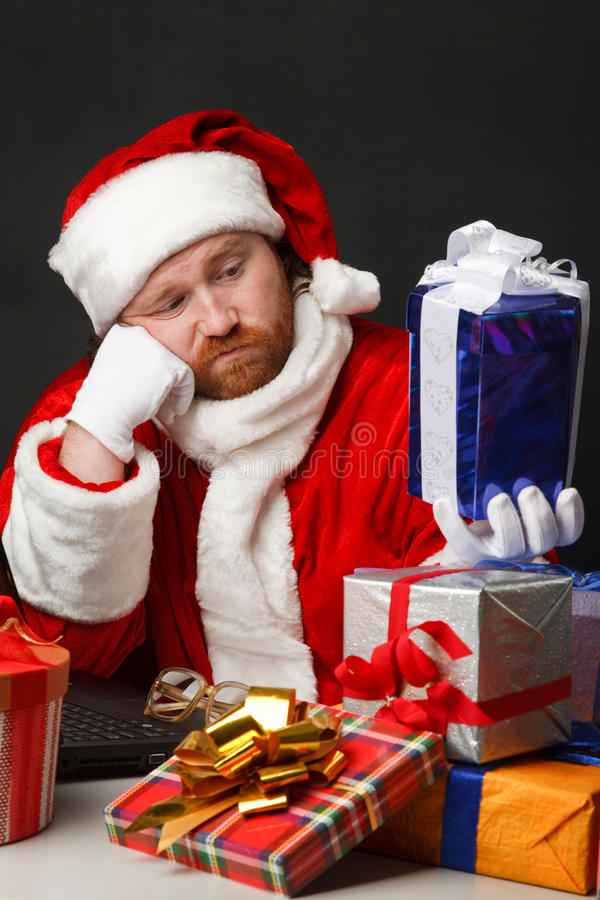 Tired santa stock images