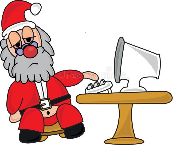 Tired Santa Claus at his Computer stock photos