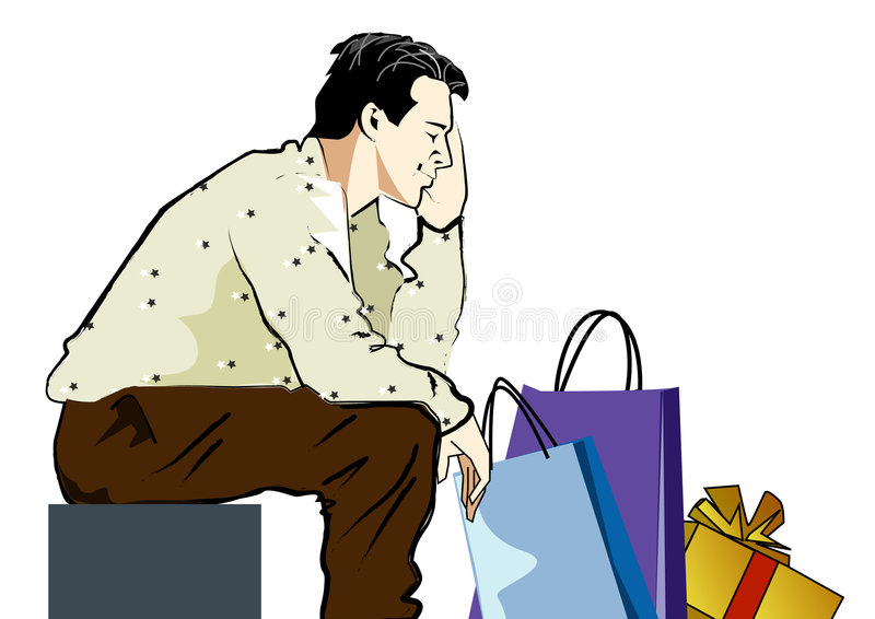 Tired of shopping. Man taking a rest after shopping stock illustration