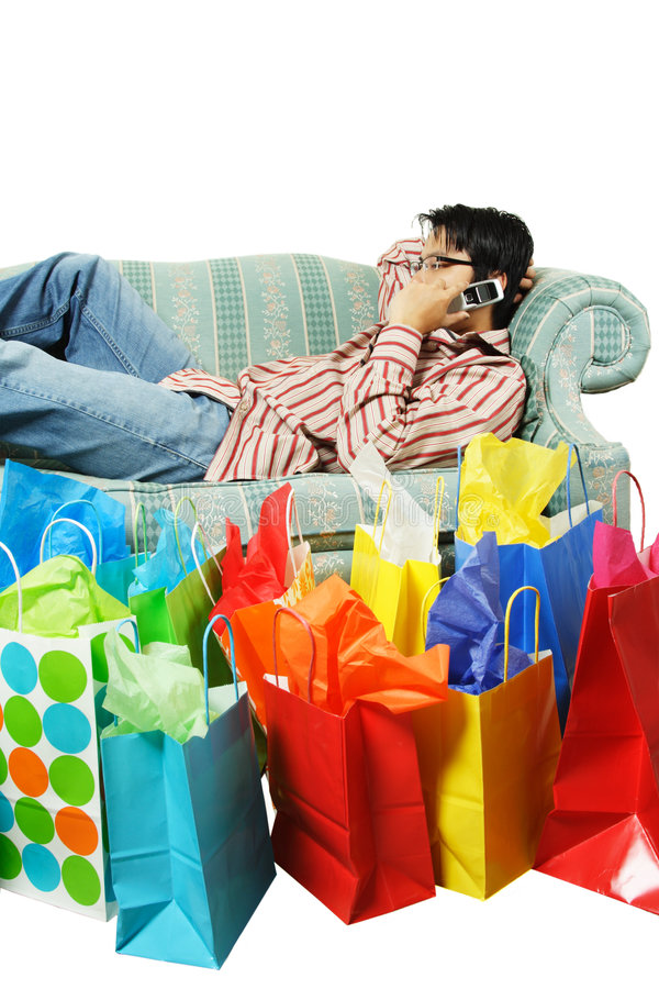 Download Tired after shopping stock image. Image of isolated, sofa - 3033965