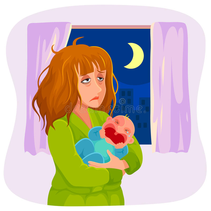 Tired sleepy mother. Tired mother carrying a crying baby at night stock illustration