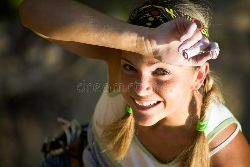 Tired sport woman stock image