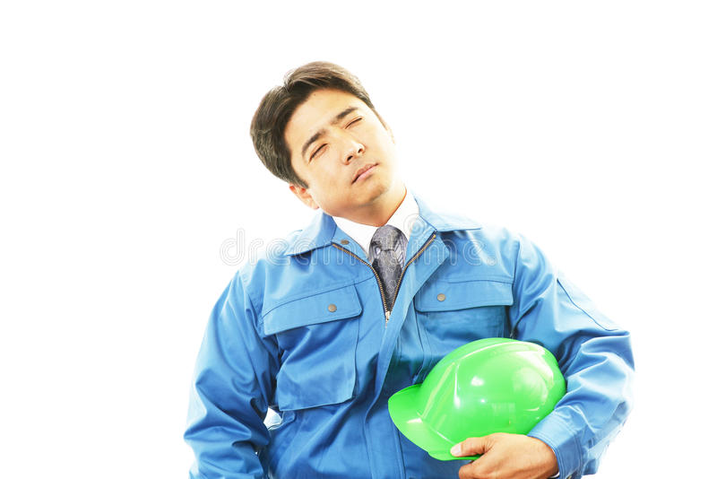 Download Tired And Stressed Asian Worker Stock Image - Image of fatigue, construction: 40102385