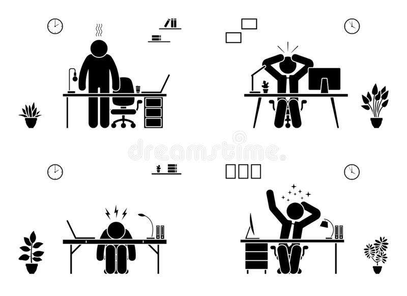 Tired, stressed, unhappy, bored stick figure man office vector icon set. Hard working business person pictogram. vector illustration