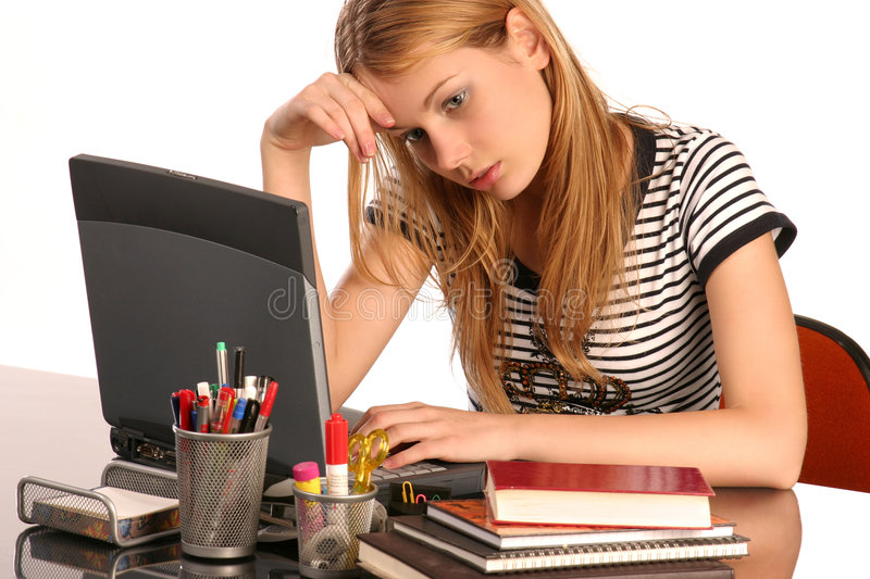 Tired of studying stock image