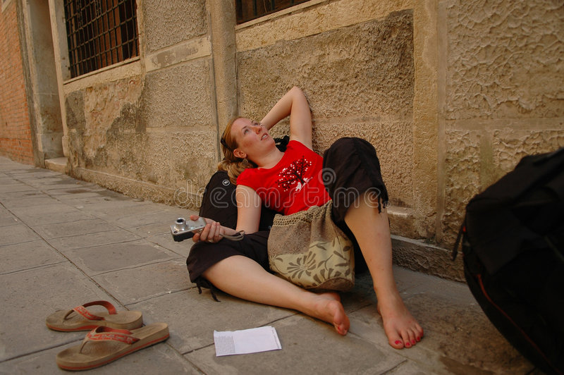 Download Tired traveler stock image. Image of backpacking, sidewalk - 3584447