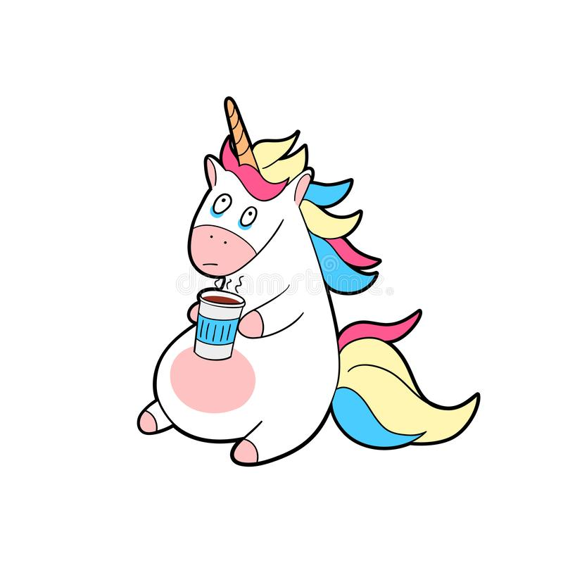 Free Tired Unicorn With A Cup Of Coffee In His Hands. Unicorn With Coffee Royalty Free Stock Image - 168200546