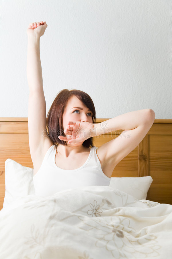 Tired after waking up royalty free stock image