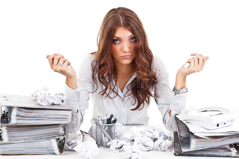 Download Tired woman stock photo. Image of desperate, accountant - 27662462